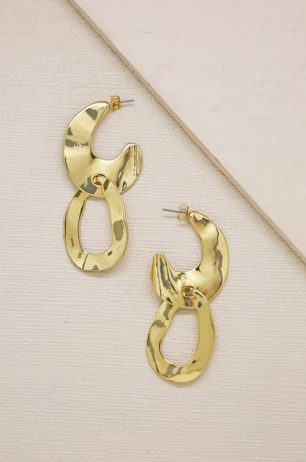 Knock Knock Abstract Double Ring Hoops in Gold - My Bikini Flex