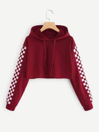Red Contrast Checkered Sleeve Crop Hoodie Sweater - My Bikini Flex