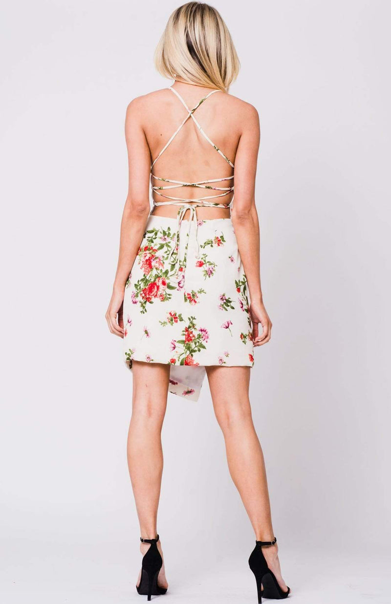 Lace Up Back Ivory Floral Midi Dress - My Bikini Flex