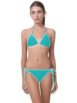 Lagoon Blue Swimsuit Triangle Halter With Side Tie Bikini Bottom - My Bikini Flex