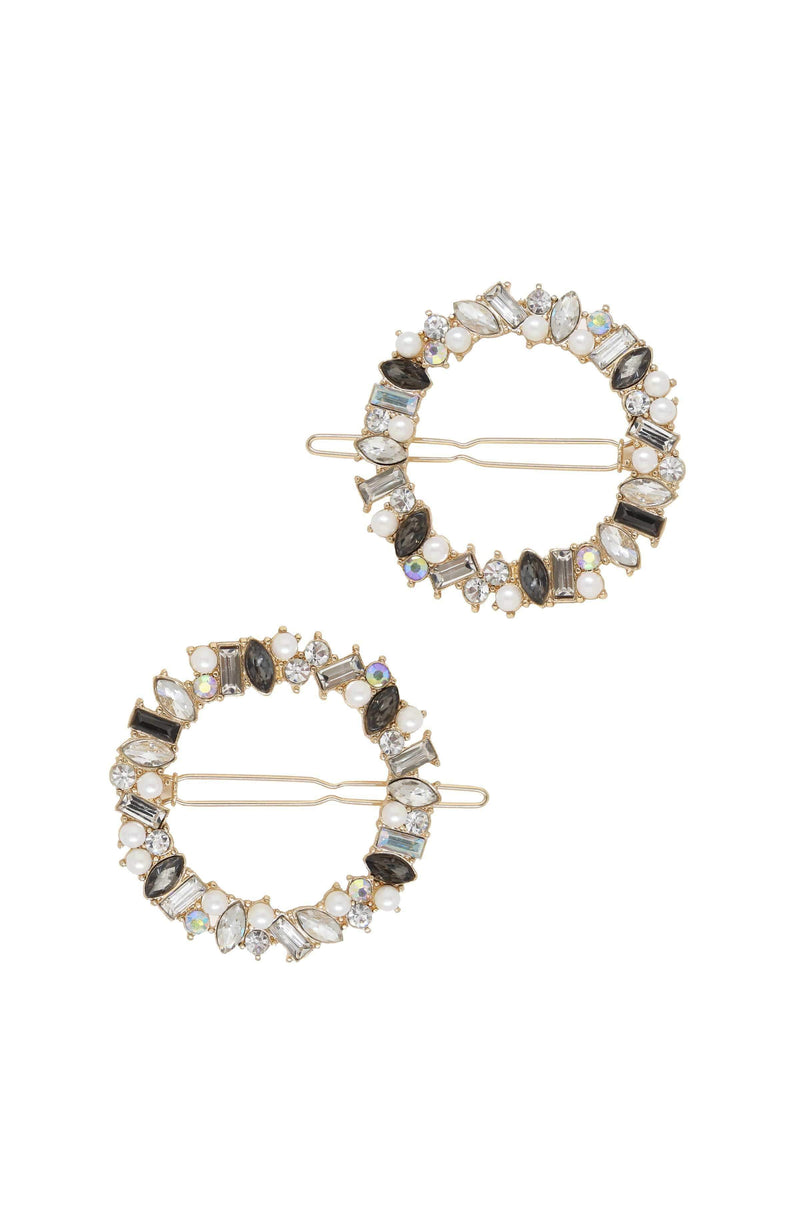 Large Crystal Donut Hair Barrette Set of 2 - My Bikini Flex
