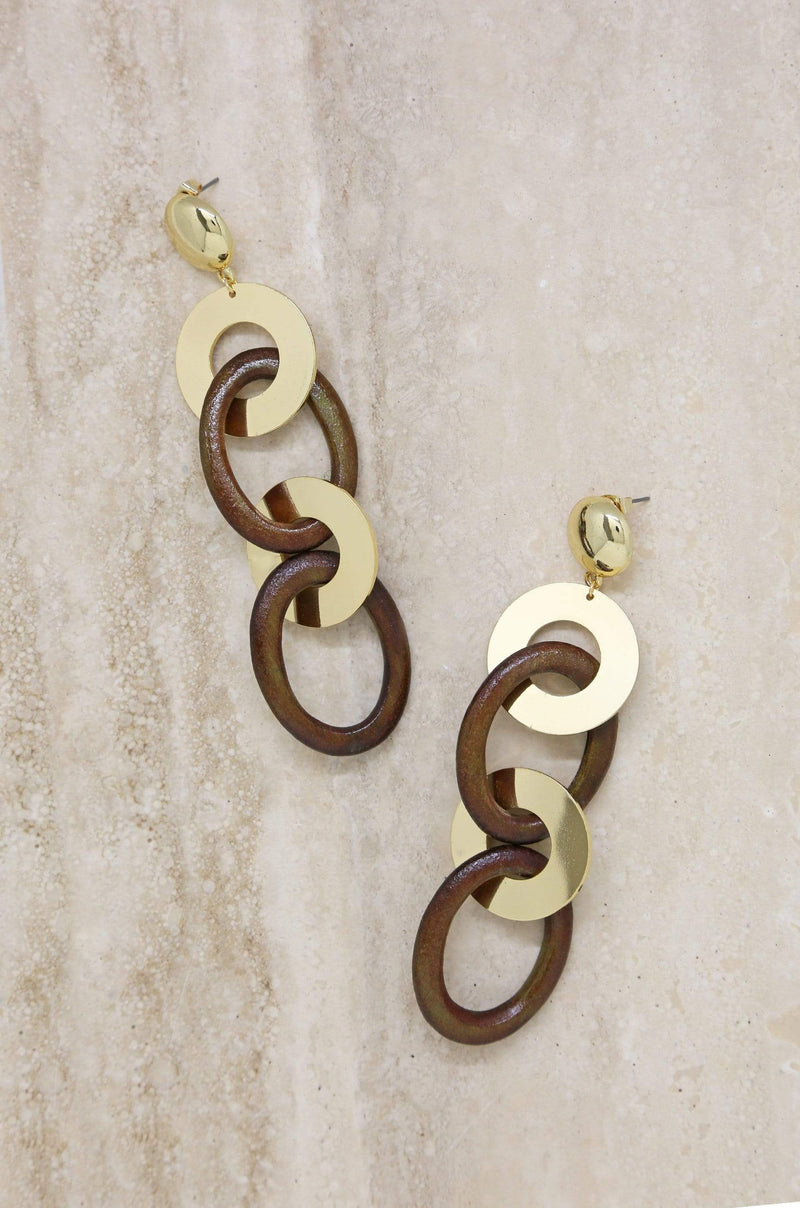 Large Wood and Gold Ring Earring - My Bikini Flex