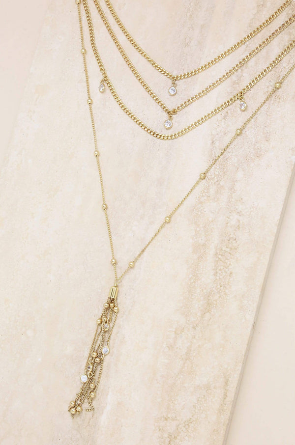 Layer Chain Drop Gold Tassel Necklace - My Bikini Flex