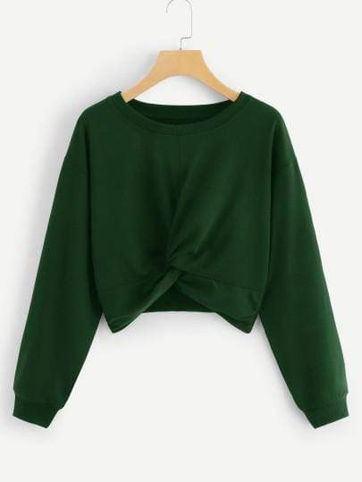 Long Sleeve Twist Solid Green Crop Sweatshirt - My Bikini Flex