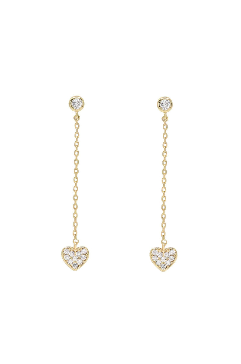 Lots of Love Chain & Heart Drop Stud Earrings - My Bikini Flex