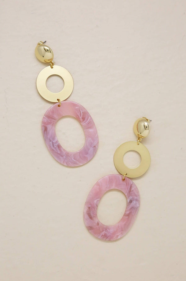 Lovely Resin Drop Earrings in Pink & Gold - My Bikini Flex