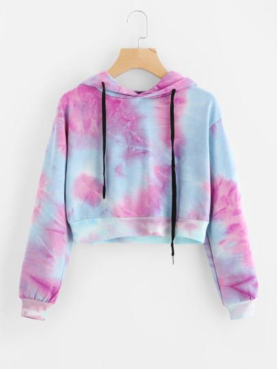 Baby Blue Pink Water Color Drawstring Crop Hoodie - My Bikini Flex