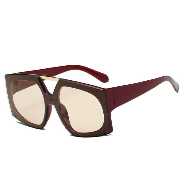 Maroon Vogue Fashion Square Oversized Sunglasses - My Bikini Flex