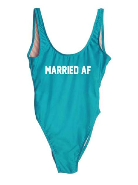 "Blue Monokini Letter ""Married AF"" One Piece Bikini Swimsuit - My Bikini Flex"