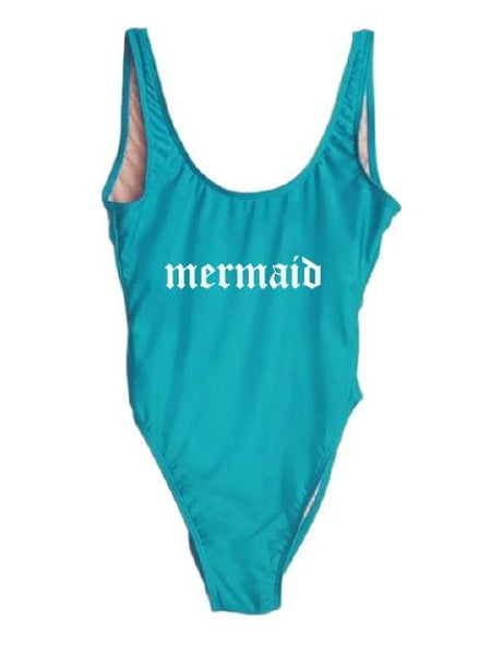 "Blue Monokini Letter ""Mermaid"" One Piece Bikini Swimsuit - My Bikini Flex"