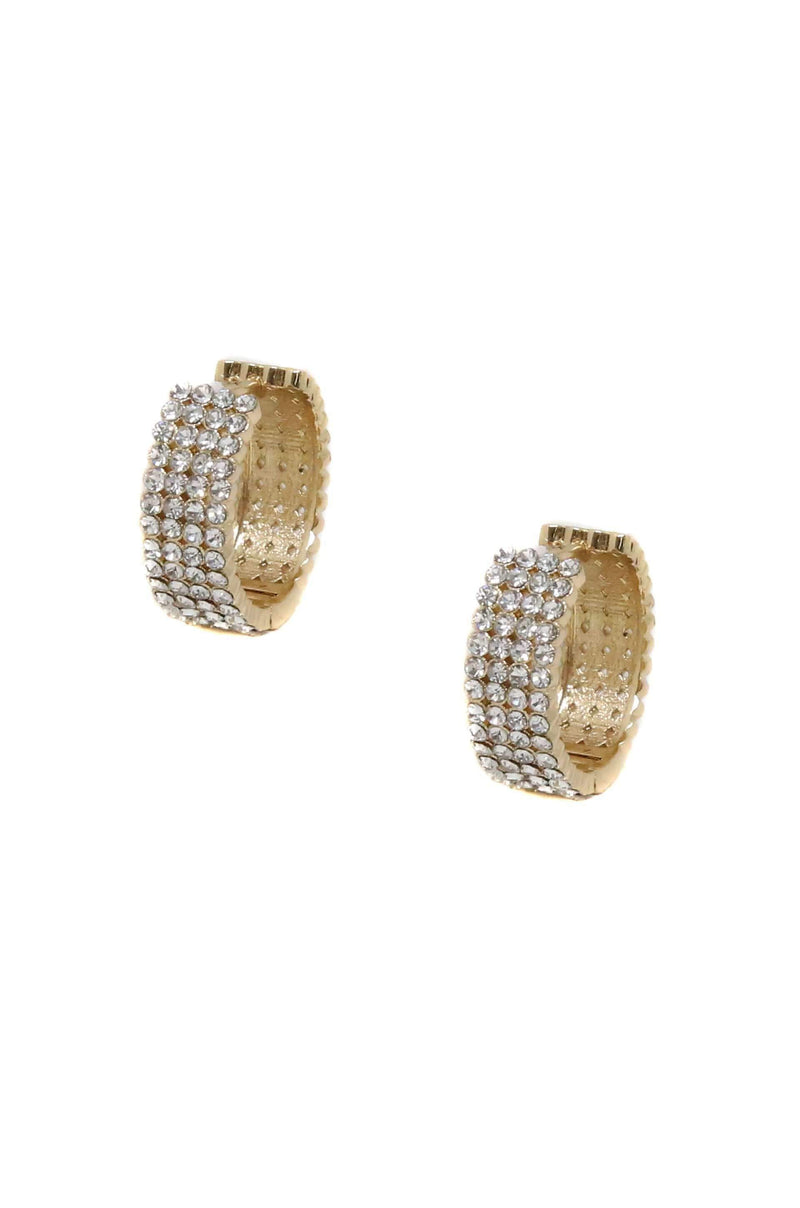 Mini Cuff Crystal Hoop Earrings in Gold - My Bikini Flex