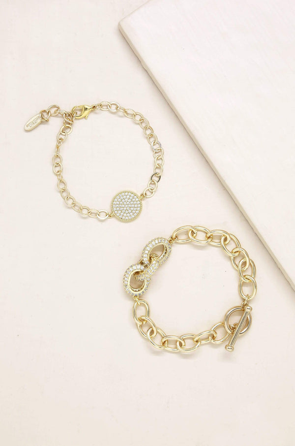 Mixed Crystal Disc & Link Chain Bracelet - My Bikini Flex