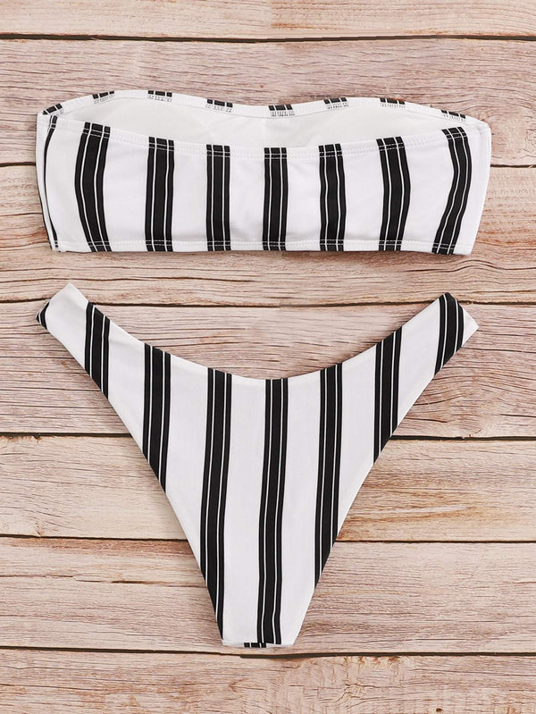 Black & White Bandeau Vertical Striped Bikini - My Bikini Flex