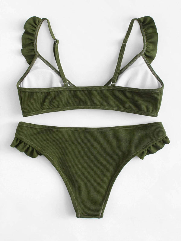 Dark Green Texture Ruffle Top Swimsuit Seam Bikini Bottom - My Bikini Flex