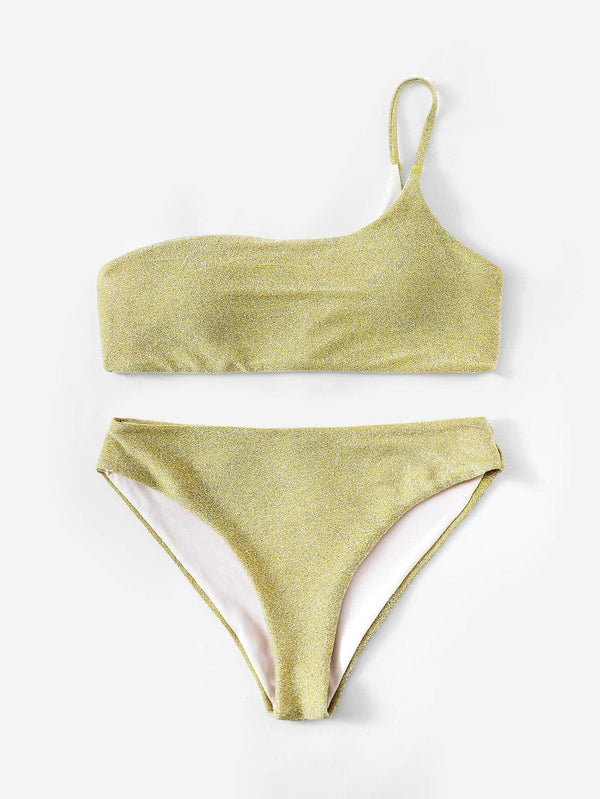 Gold Wireless One Shoulder Bikini - My Bikini Flex