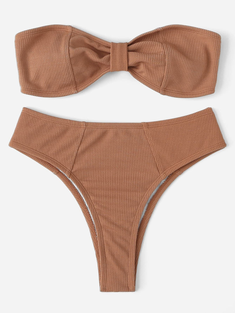 Khaki Rib Stitched Bandeau Top High Cut Bikini Bottom - My Bikini Flex