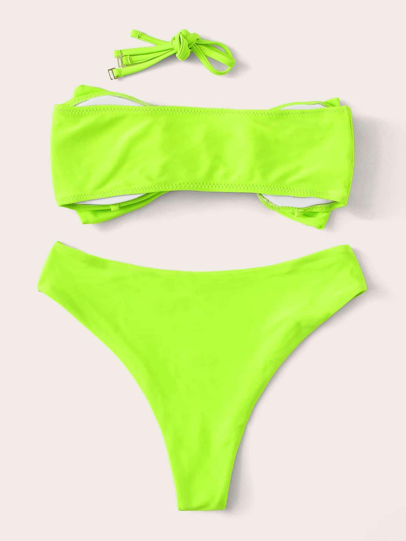 Neon Lime Green Bow Decor Bandeau Bikini - My Bikini Flex