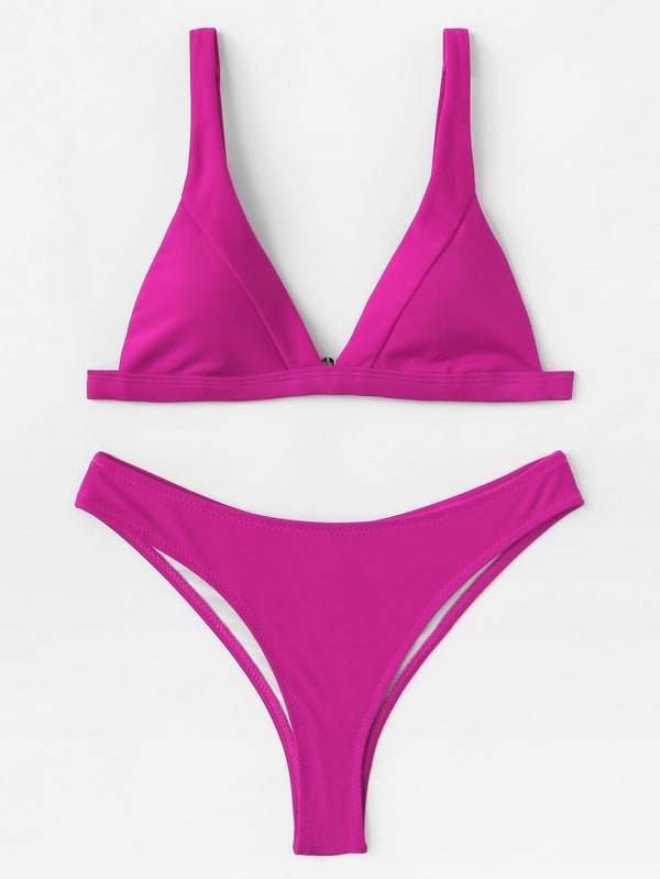 Neon Pink Triangle Cami Top Swimsuit High Leg Bikini Bottom - My Bikini Flex