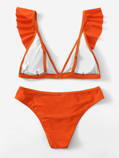 Orange Triangle Top Ruffle Bikini - My Bikini Flex