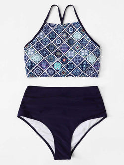 Plus Size Blue Geometric Lace Up Swimsuit Two Piece Tankini Bikini - My Bikini Flex