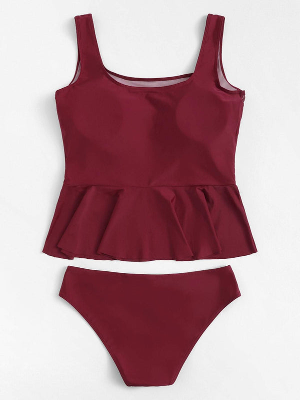 Plus Size Burgundy Mesh Swimsuit Two Piece Tankini Bikini - My Bikini Flex