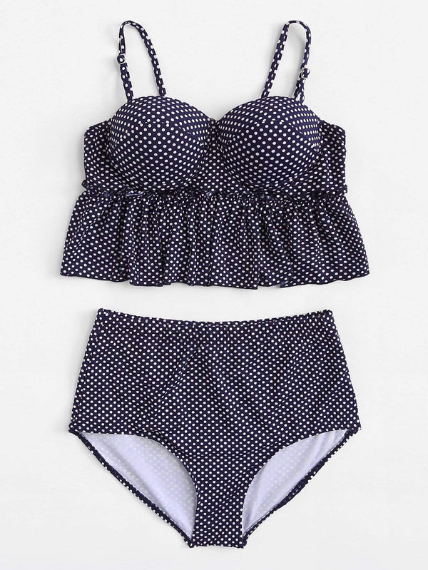 Plus Size Navy Blue Polka Dot Swimsuit Two Piece Ruffle Bikini - My Bikini Flex