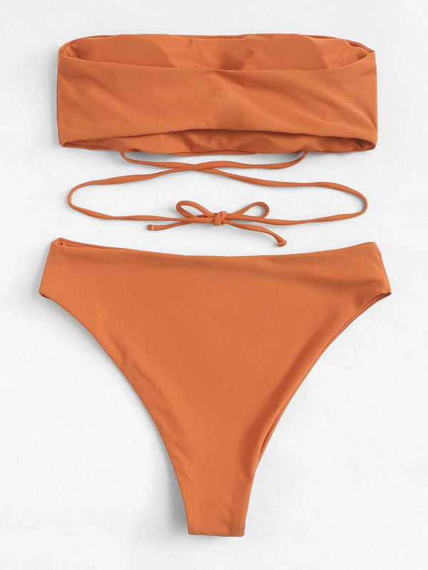 Plus Size Orange Laced Up Bandeau Swimsuit Two Piece Bikini - My Bikini Flex