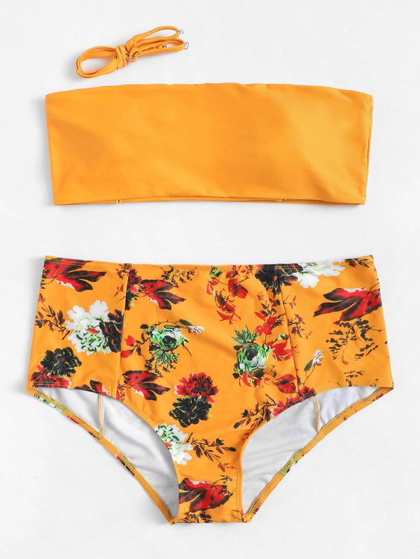 Plus Size Yellow Bandeau Swimsuit High Waist Floral Bikini Bottom - My Bikini Flex