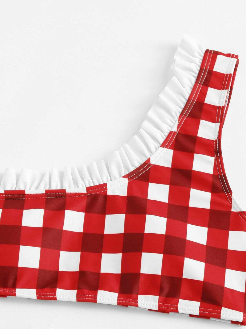 Red Gingham One Shoulder Top High Leg Bikini Bottom - My Bikini Flex