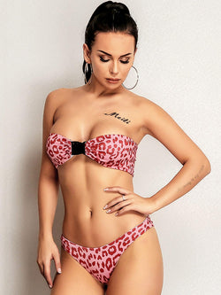 Red Tone Push Buckle Detail Leopard Bandeau & Low Rise Bikini - My Bikini Flex