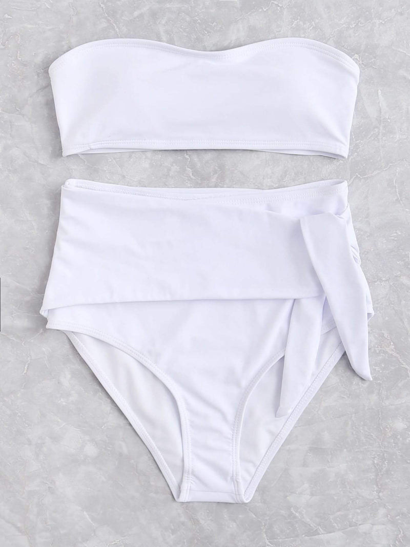 White Bandeau Top Self Tie High Waist Bikini Bottom - My Bikini Flex