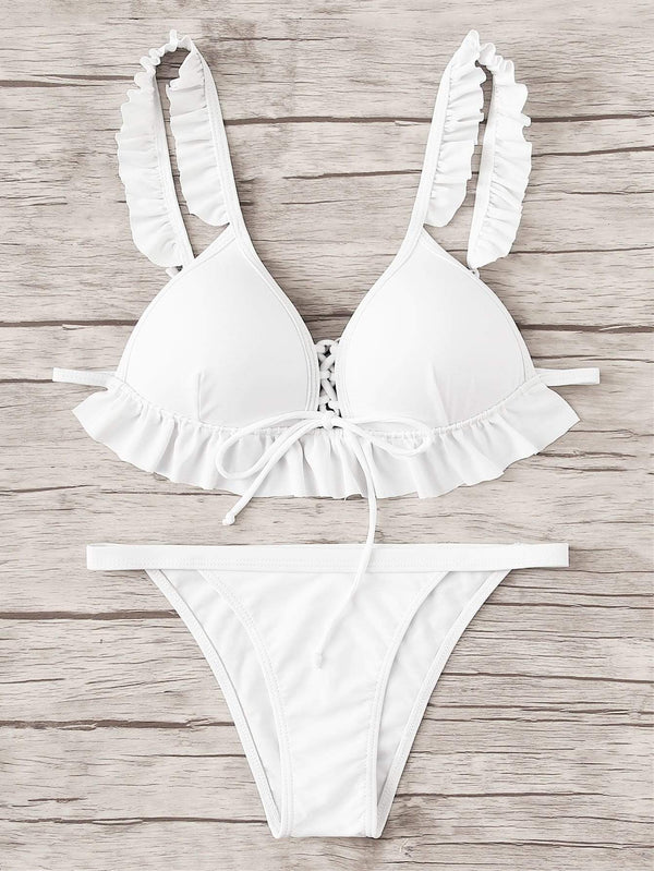 White Ruffle Trim Lace Up Top Swimsuit Tanga Bikini Bottom - My Bikini Flex