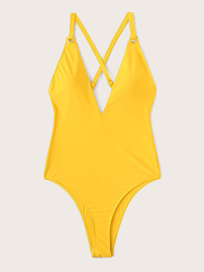 Yellow Crisscross Backless One Piece Swimsuit Bikini - My Bikini Flex