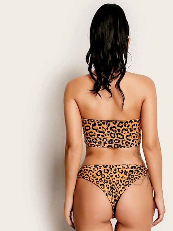 Yellow Tone Leopard Cutout Bandeau Swimsuit High Cut Bikini Bottom - My Bikini Flex