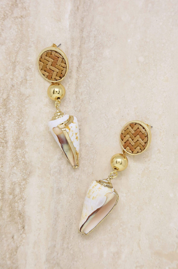Nautical Nature Shell Earrings in Tan - My Bikini Flex