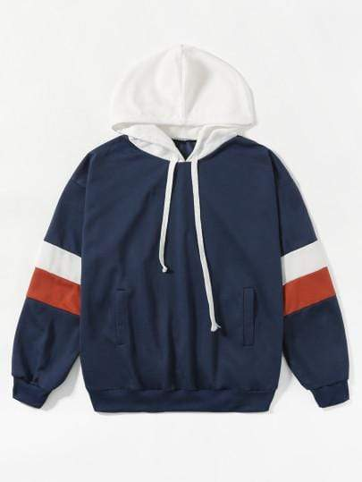 Navy Blue Contrast Stripe Panel Hoodie - My Bikini Flex