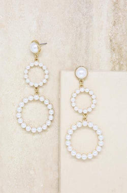 Night Out Double Pearl Hoop Drop Earrings - My Bikini Flex