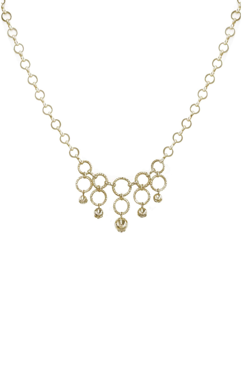 Open Circle Gold Linked Necklace with Ball Charms - My Bikini Flex