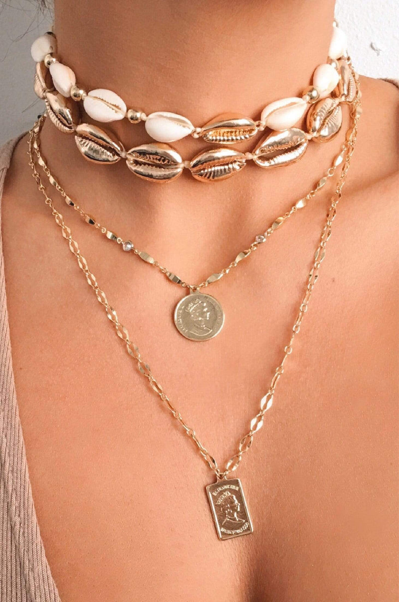 Out to Sea Cowrie Shell 18kt Gold Plated Necklace - My Bikini Flex