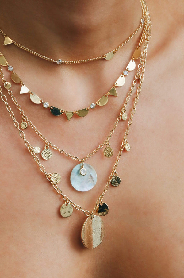 Pacific Princess 18kt Gold Plated Layered Shell Necklace - My Bikini Flex