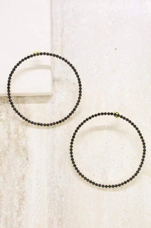 Perfect Crystal Hoop Earrings in Black - My Bikini Flex