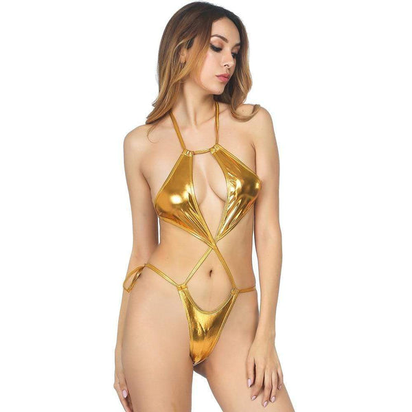Sexy Gold Swimsuit Sheer Microkini G String Bikini - My Bikini Flex