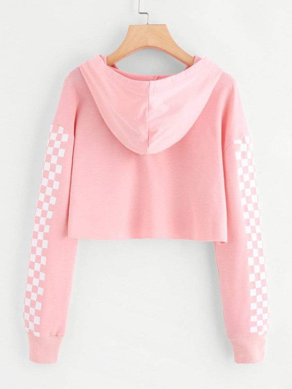 Pink Contrast Checkered Sleeve Crop Hoodie Sweater - My Bikini Flex