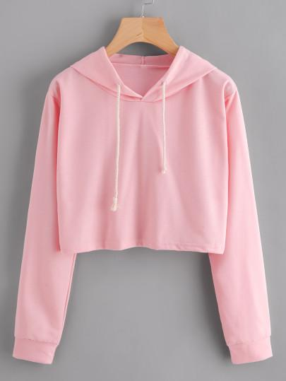 Pink Crop Hooded Sweatshirt Drawstring Sweater - My Bikini Flex