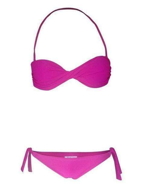Pink Twisted Bandeau Top Swimsuit With Tie Side Bikini (UPF50+) - My Bikini Flex