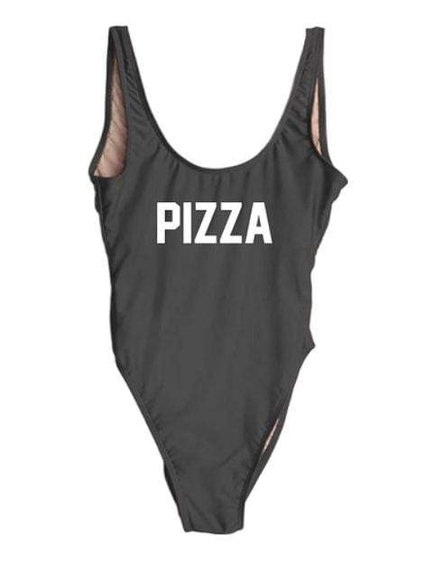 "Black Monokini Letter ""Pizza"" One Piece Bikini Swimsuit - My Bikini Flex"