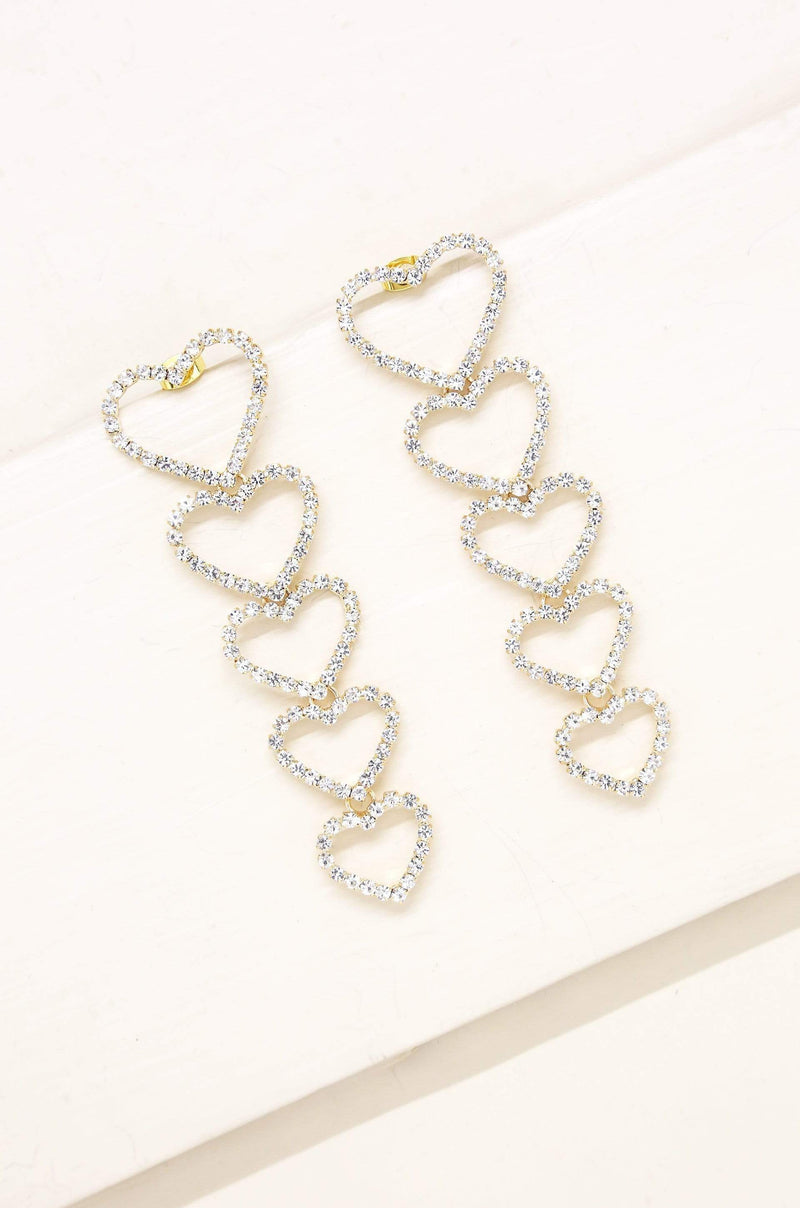 Quad Heart Crystal & Gold Drop Earrings - My Bikini Flex