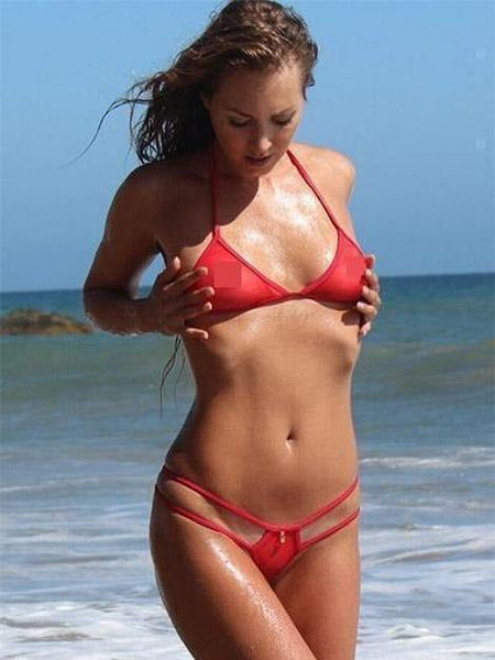 Red Sheer See Through Swimsuit Double Strap G-String Bikini Bottom - My Bikini Flex