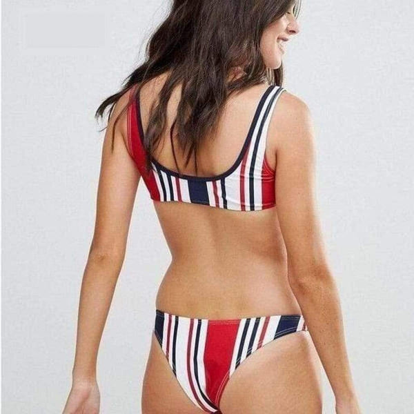 Red Striped Sporty Swimsuit Brazilian Push Up Bikini - My Bikini Flex