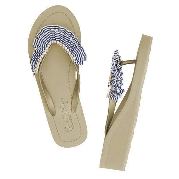 Rockaway (Stripe) - Women's Mid Wedge Sandal - My Bikini Flex
